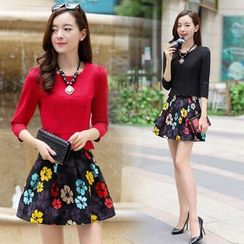 Romantica - Set: Long-Sleeve Top + Printed Skirt