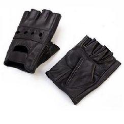 BESTshop - Faux-Leather Half-Finger Gloves