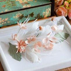 Ashmi - Bridal Flower Feather Headpiece