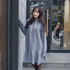 Envy Look - Ruffle-Hem Hooded Fleece Pullover Dress