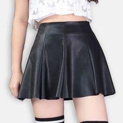 Athena - Faux-Leather A-Line Skirt