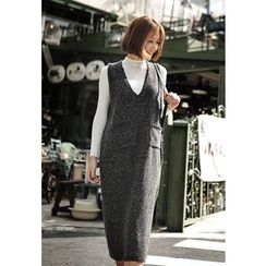 REDOPIN - Sleeveless Dual-Pocket Knit Long Dress