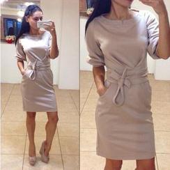 Blue Tune - Bow Short-Sleeve Dress