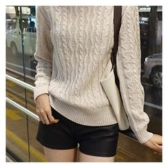 hellopeco - Crew-Neck Cable-Knit Sweater