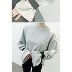 ATTYSTORY - Tie-Sleeve Cotton Pullover
