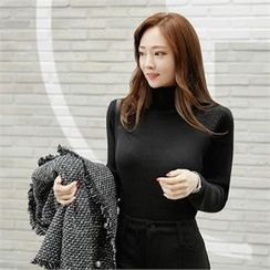 ZIZIBEZIRONG - Turtle-Neck Ribbed Knit Top