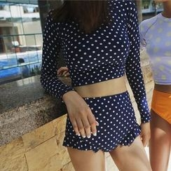 Roseate - Set : Dotted Rashguard + Frill Trim Swim Shorts
