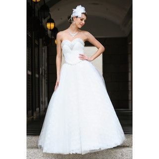YesStyle Wedding - Diamante Rosette Strapless Ball Gown