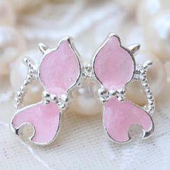 Fit-to-Kill - Bow-Tie Little Cat Earrings -Pink
