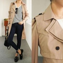 45SEVEN - Detachable Vest Epaulette-Shoulder Trench Coat