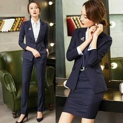 Aision - Set: Striped Blazer + Pencil Skirt