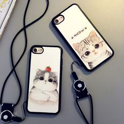 Cartoon Face - Cat Print Mobile Phone Case with Neck Strap - Apple iPhone 6 / 6 Plus / 7 / 7 Plus