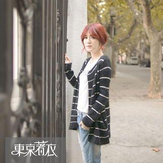 Tokyo Fashion - Open-Front Stripe Furry Cardigan