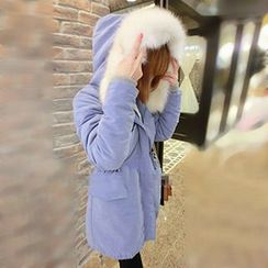 Fancy Show - Faux-Fur Trim Hooded Padded Parka
