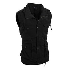 Hansel - Hooded Sleeveless Zip Up Jacket