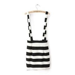 JVL - Striped Panel Suspender Skirt