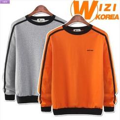 WIZIKOREA - Contrast-Trim Sweatshirt
