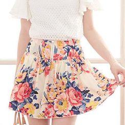 Tokyo Fashion - Floral Print Zip-Front Mini Skirt