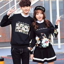Azure - Couple Matching Floral Print Pullover