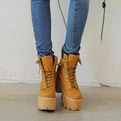 Zandy Shoes - Chunky-Heel Platform Short Boots