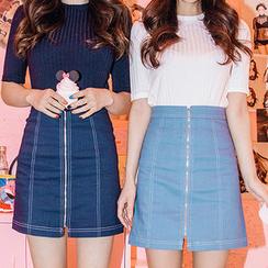 chuu - Zipped Denim A-Line Mini Skirt