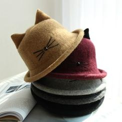 EVEN - Cat Ear Knit Bowler Hat