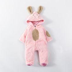 MOM Kiss - Baby Rabbit Hooded Fleece One-Piece
