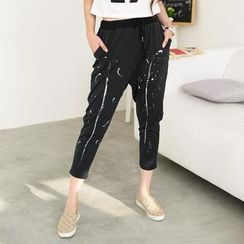 59 Seconds - Paint Splattered Drawstring Cropped Pants