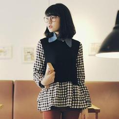 Tokyo Fashion - Long-Sleeve Check Panel Peplum Top