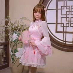 Candy Rain - Flower Accent Tasseled Mandarin Collar Long Sleeve Dress