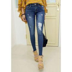 REDOPIN - Fray-Hem Distressed Skinny Jeans