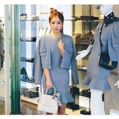 Sienne - Set: Sleeveless Ruffle Hem Sheath Knit Dress + Cardigan