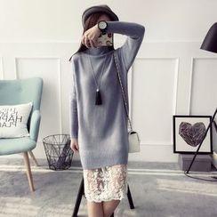 Qimi - 長袖純色針織連衣裙