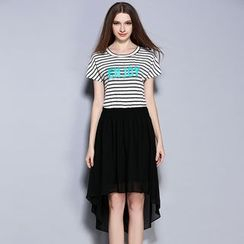 Cherry Dress - Letter Stripe Short-Sleeve Chiffon Dress