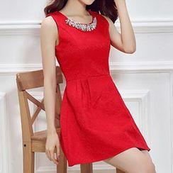 Emeline - Rhinestone Sleeveless Dress
