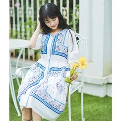 Moricode - Short-Sleeve Patterned Midi Dress