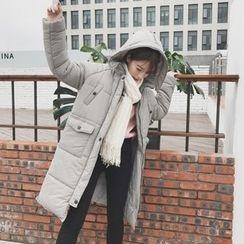 Eva Fashion - Plain Hooded Padded Coat