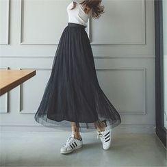 ERANZI - Band-Waist Long Tulle Skirt