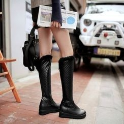 Pastel Pairs - Quilted Platform Tall Boots