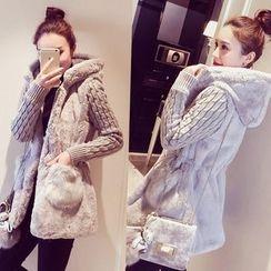 Sienne - Knit Sleeve Hooded Faux Fur Coat