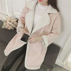 Eva Fashion - Faux Suede Fleece-lined Coat