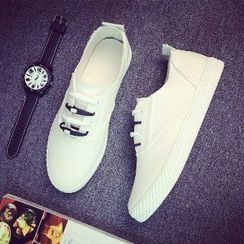 Solejoy - Slip-On Lace-Up Canvas Sneakers