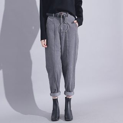Sonne - High-Waist Corduroy Harem Pants with Belt