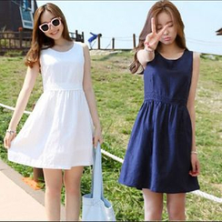 YOSH - Plain Sleeve Mini Dress