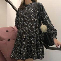 Dute - Floral Print Long Sleeve Dress