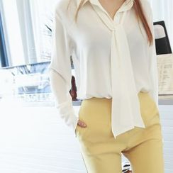 DABAGIRL - Wide-Cuff Chiffon Blouse with Scarf