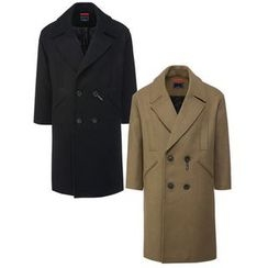 Seoul Homme - Wide-Lapel Double-Breasted Wool Blend Coat