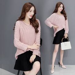 Romantica - Set: V-Neck Sweater + Plain A-Line Skirt