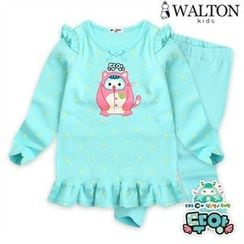 WALTON kids - Kids Pajama Set: Frilled Top + Pants