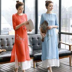 Diosa - 3/4-Sleeve Print Maxi Dress